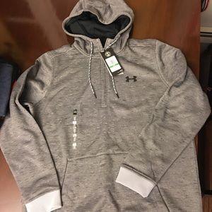 New UA UNDER ARMOUR 1/2 zip Grey hoodie LARGE